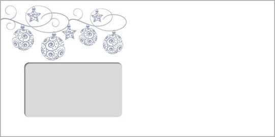 Silberne Weihnachtskugeln, DIN-lang-Fensterkuvert